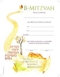 B-Mitzvah Gender Neutral Certificate