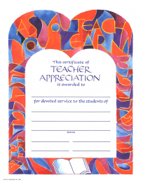 Certificate of Teacher Appreciation